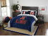 NCAA Illinois Fighting Illini QUEEN Comforter and 2 Shams