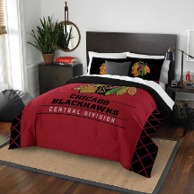 NHL Chicago Blackhawks QUEEN Comforter and 2 Shams